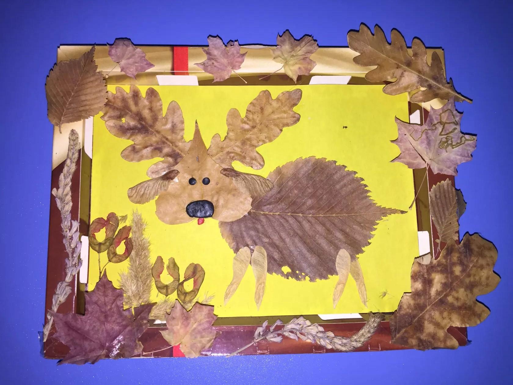 Открытка своими руками из природных материалов - листьев 68